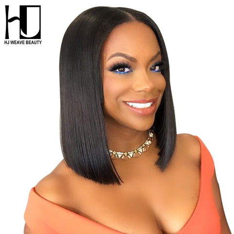 Short Lace Front Human Hair Wigs 130% Density Brazilian Remy Hair Bob Wig with Pre Plucked Hairline Free Shipping