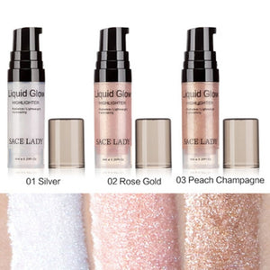 Face Highlighter Cream Liquid Makeup Shimmer Glow Kit Make Up Facial Shine Cosmetic Tool