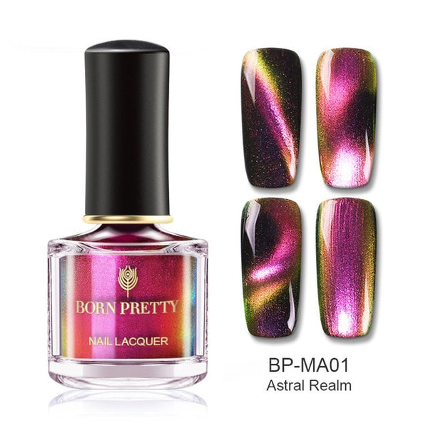 BORN PRETTY 6ml Chameleon 3D Magnetic Cat Eye Nail Polish Aurora Series Manicure Nail Art Lacquer Magnetic Black Base Needed