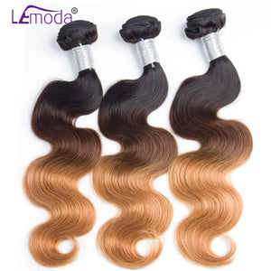 Lemoda Ombre Peruvian Body Wave Hair 3 Bundles 1B/4/27 human hair Weave Bundles 3 Tone Non Remy Hair Weaving Extensions