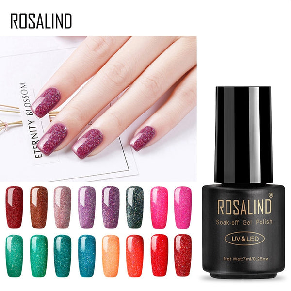 ROSALIND 7ml Nail Gel Polish Rainbow Shimmer R01-29 Gel Nail Polish Nail Art  UV LED Semi Permanent Gel Lacquer