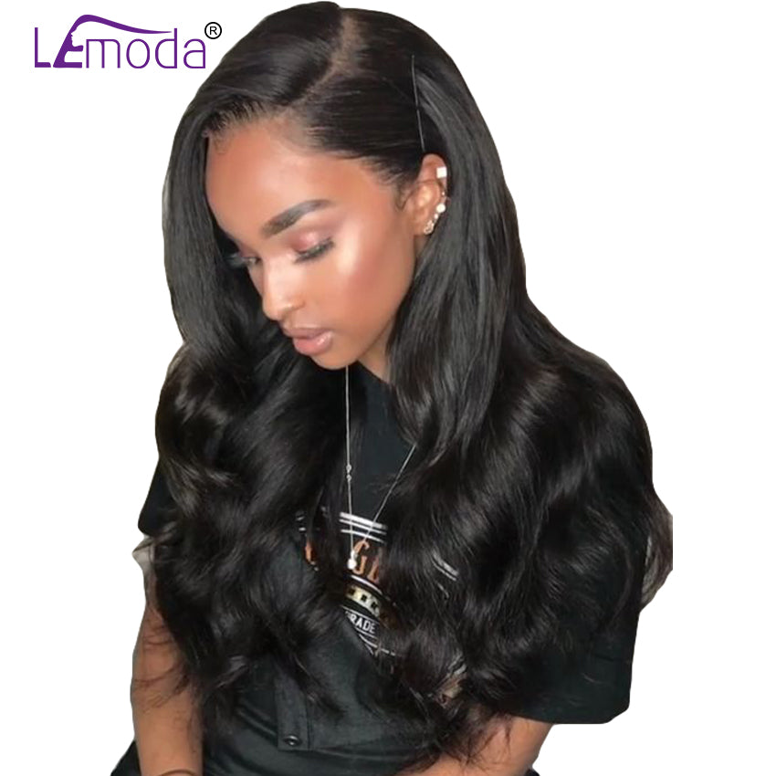 LeModa Lace Front Human Hair Wigs Malaysian Remy Hair Body Wave Human Hair Wigs For Black Women Pre Plucked Lace Front Wig