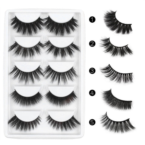 Mix In 5 Pairs Of 3D False Eyelashes For A Dense Long False Eyelash