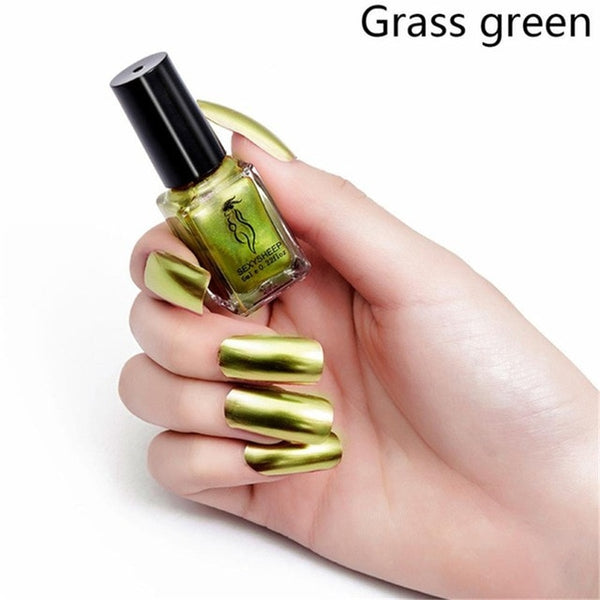 Mirror Effect Metallic Nail Polish Pretty Shiny Mirror Glitter Long Lasting Nail Polish Gold Silver Chrome Nail Art Set 1/2Pcs