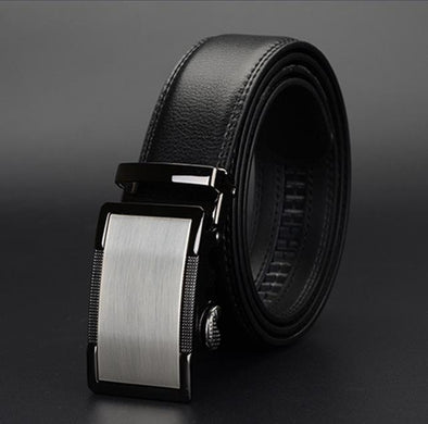 Dixon Leather Grained Platinum Buckle Belt