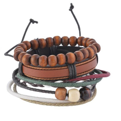 Dixon Leather Wood Beaded Bracelet