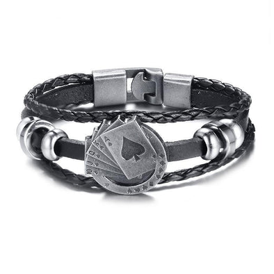 Dixon Leather Lucky Aces Bracelet