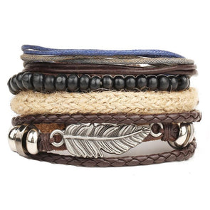 Dixon Leather 4PC Retro Bracelet Set