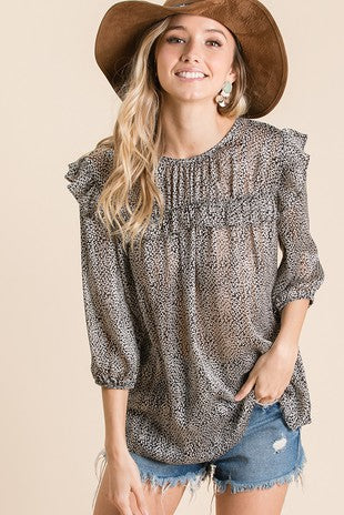 3/4 Sleeve Floral print woven sheer blouse top