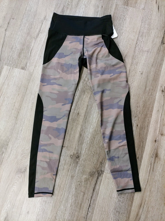 Athletic camouflage color block leggings