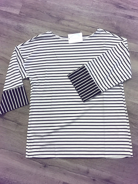 3/4 wide sleeve stripe top