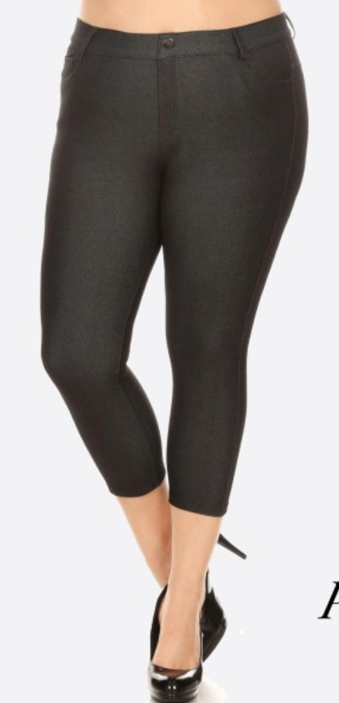 Capri jeggings featuring a light sheen and jean-style
