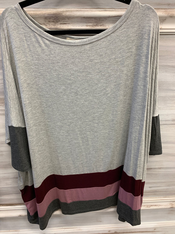 3/4 sleeve multi color block top