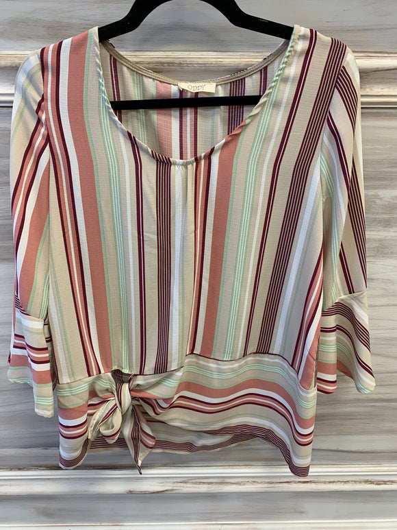 Striped bell sleeve blouse w/side tie hem