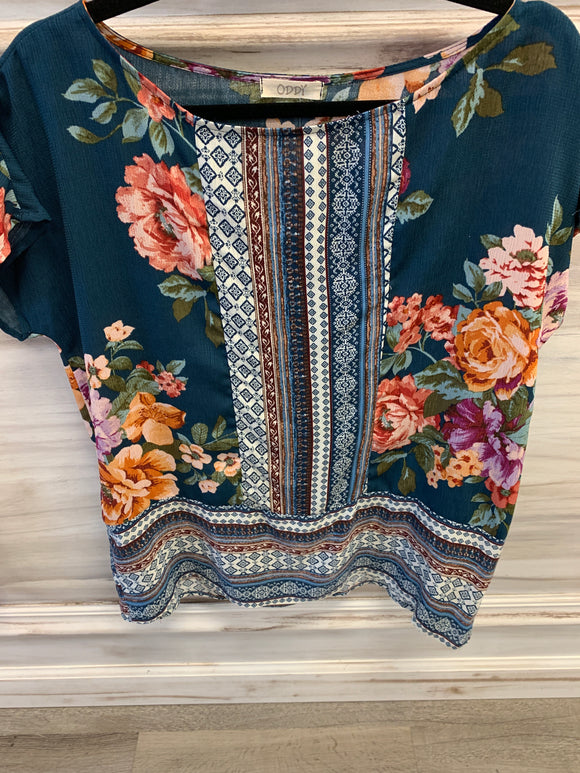 SS Floral and Pin Stripe Blouse