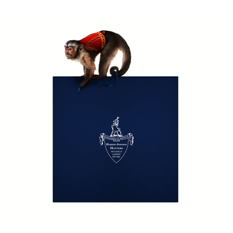 Herbert Johnson Hat Box, featuring Snuff the Monkey from Raiders of the Lost Ark