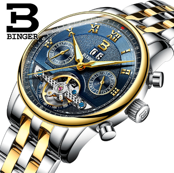 Binger Men Watch With Night Light Flywheel Table