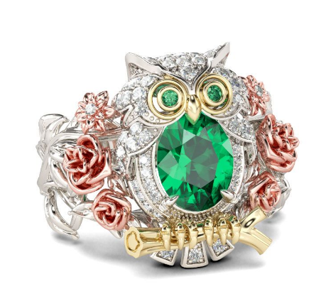 2019 Hand-Cut Three Tone Oval Cut Sterling Silver Owl Ring