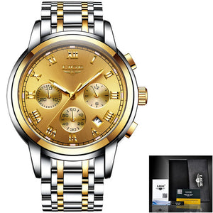 LIGE Top Luxury Business Waterproof Quartz Clock Watch