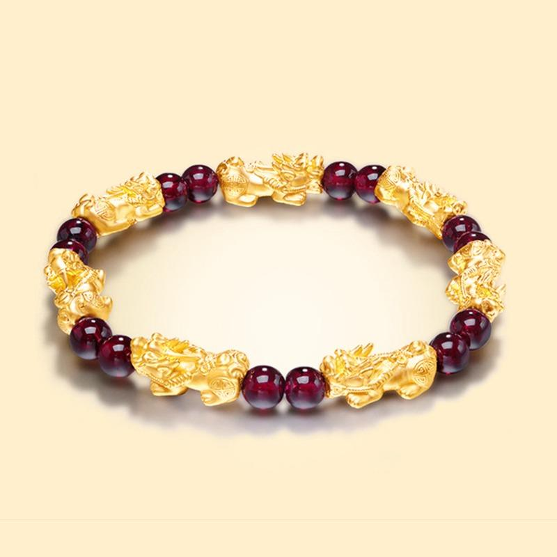 Red Garnet Lucky Pixiu Wealth Bracelet