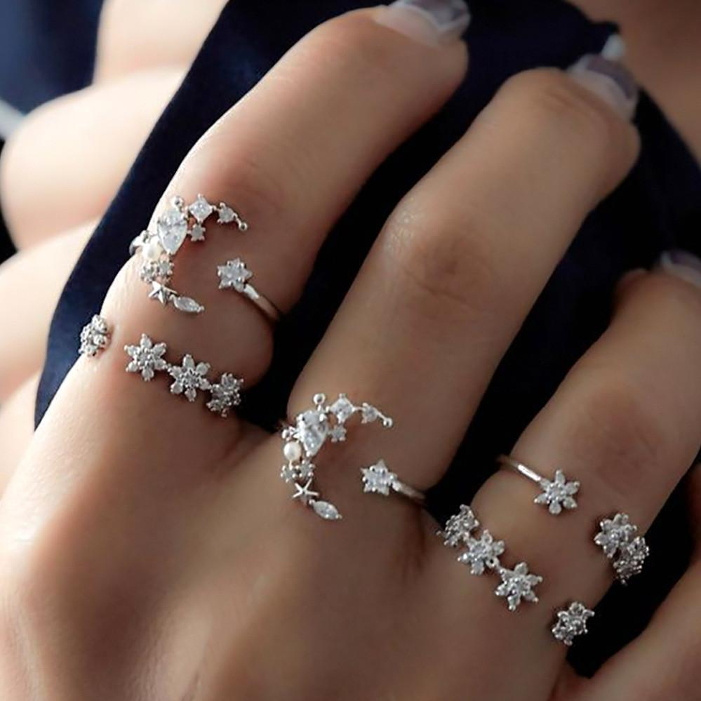 Celestial Crescent Moon & Stars Ring Set