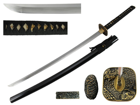 Musashi Square Dragon and Tiger Katana Black Cord
