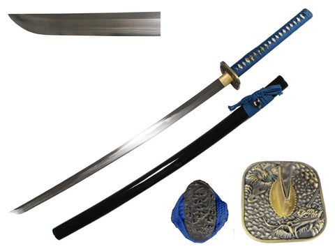 Musashi Square Dragon and Tiger Katana Blue Cord