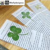 Harry Potter Upcycled 4-leaf Clover Bookmarks - made from book pages with real clovers by KellyDesignCompany - Felix Felicis - Lucky four leaf clover