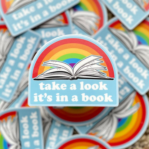Take a look, Its in a book - Reading Rainbow inspired 3in Sticker by Kelly Design Company