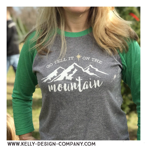 Go Tell It On The Mountain, Christmas tee -  Next Level unisex raglan 3/4 shirt