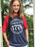 Party Like It's 1776 - Youth short sleeve raglan tee, Independence Day shirt