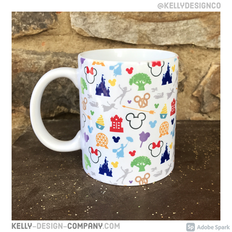 Walt Disney World Icons mug - Disney silhouettes ceramic coffee cup by Kelly Design Company