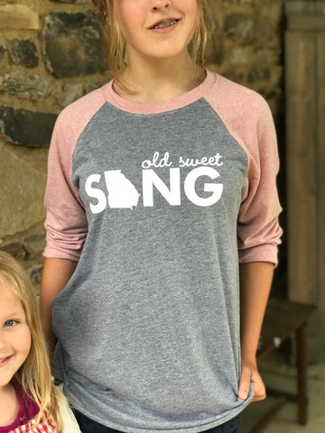 Old Sweet Song - Georgia On My Mind 3/4 sleeve raglan tee - Kelly Design Company