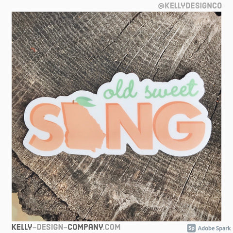 Old Sweet Song sticker Georgia Peach decal by Kelly Design Company