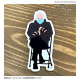 Bernie in Chair with mittens magnet by Kelly Design Company
