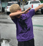 """Boss"" Dabbing Bear - Cherokee Bluff Spiritwear tee -  Purple Rush Next Level Youth CVC shortsleeve shirt"