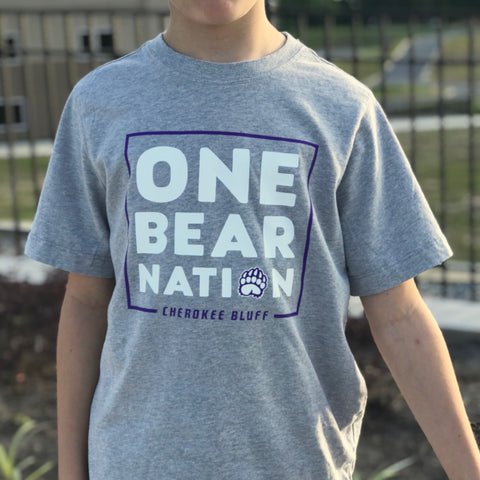 One Bear Nation - Cherokee Bluff Spiritwear tee - Next Level Youth shirt