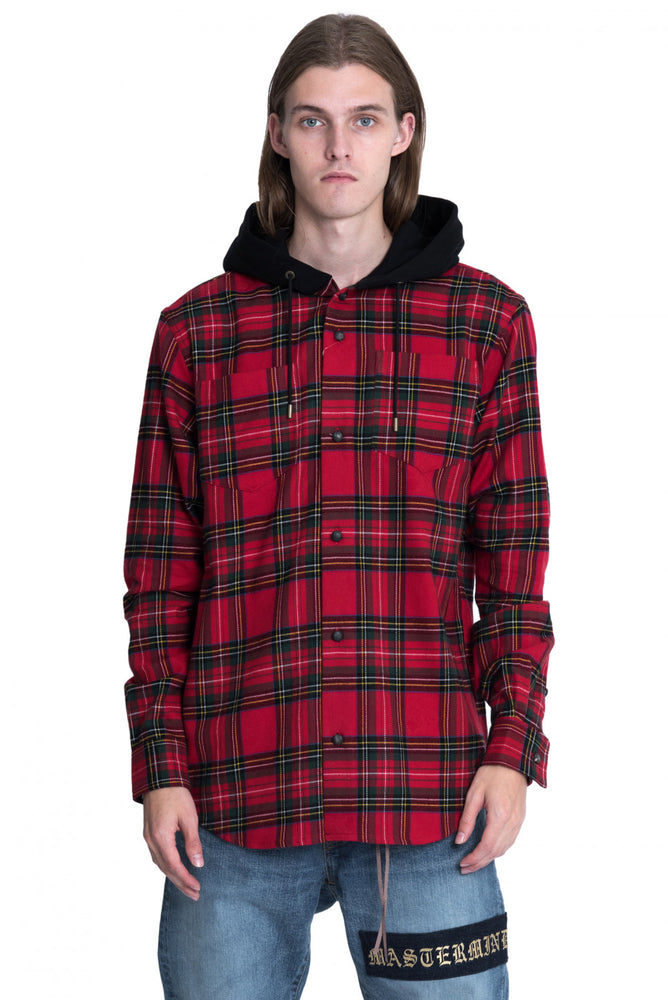 front Mastermind World Red Hooded Check Flannel Shirt