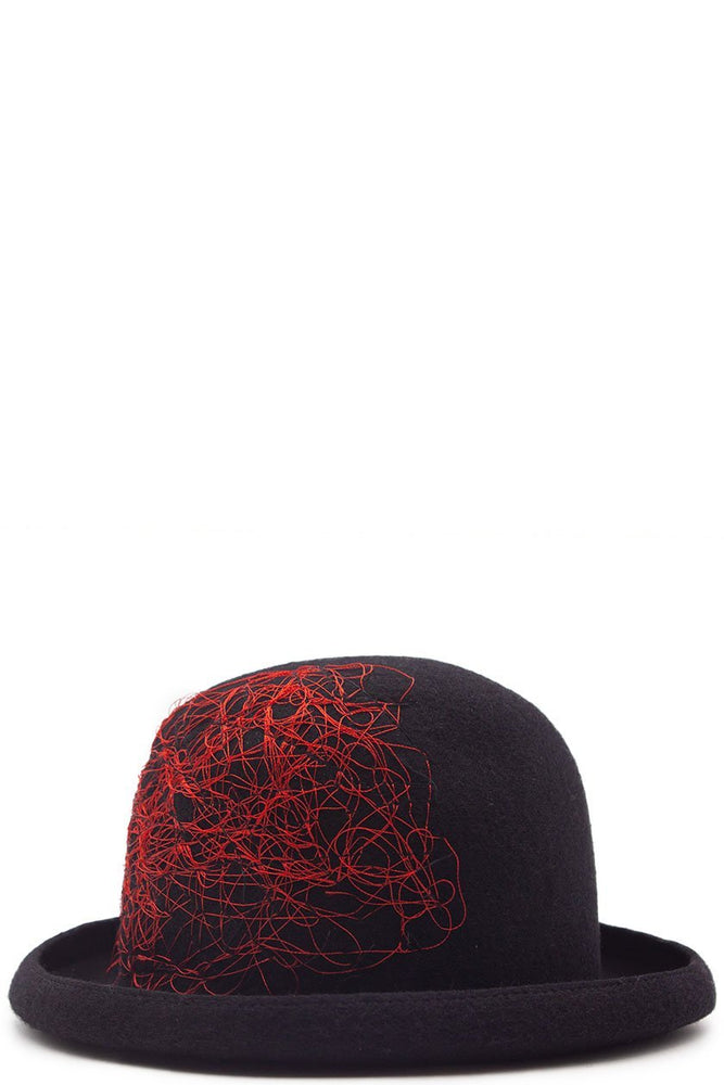 Isabel Benenato Embroidery Felt Hat