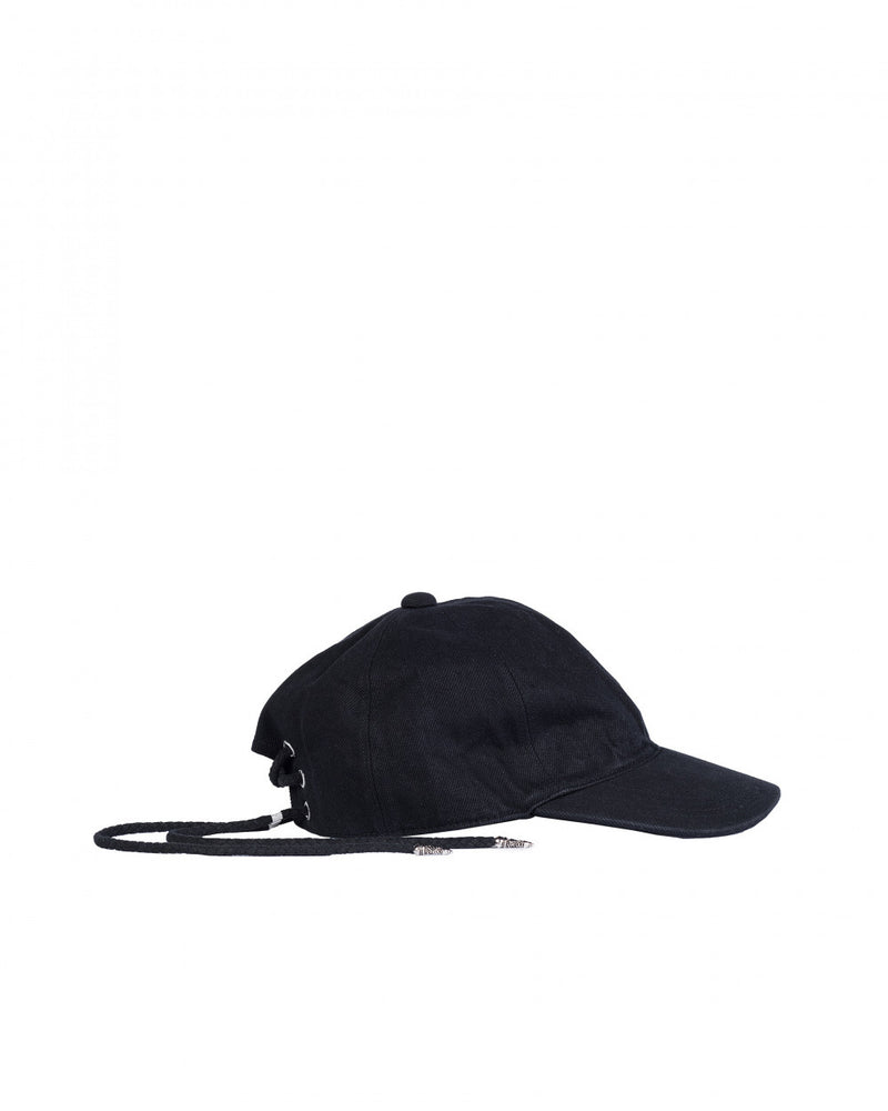 Christian Dada Black Lace Up Denim Cap