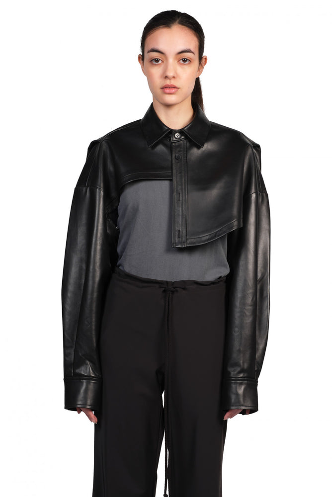 Feng Chen Wang Black Asymmetric Cropped Leather Jacket