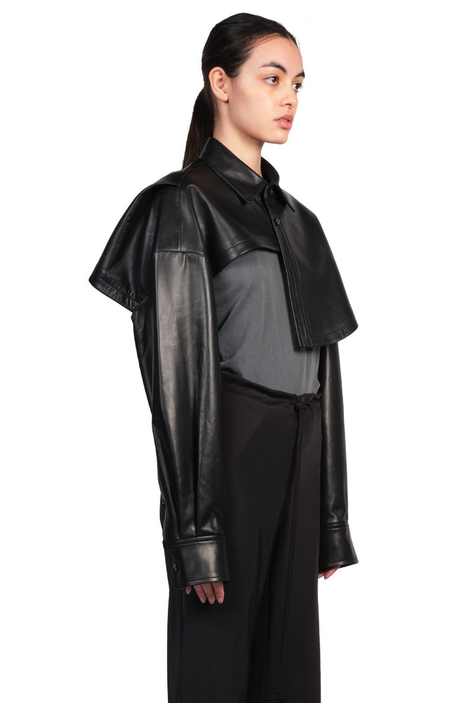 Feng Chen Wang Black Cropped Leather Jacket