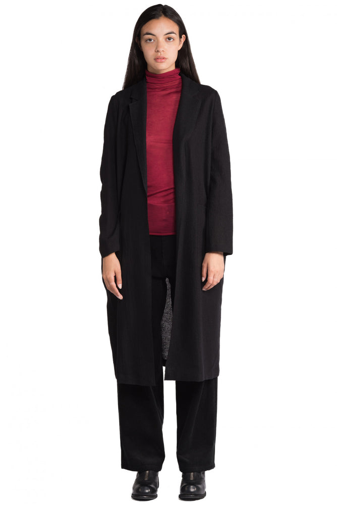 Greyyang Black Wool Cardigan Coat