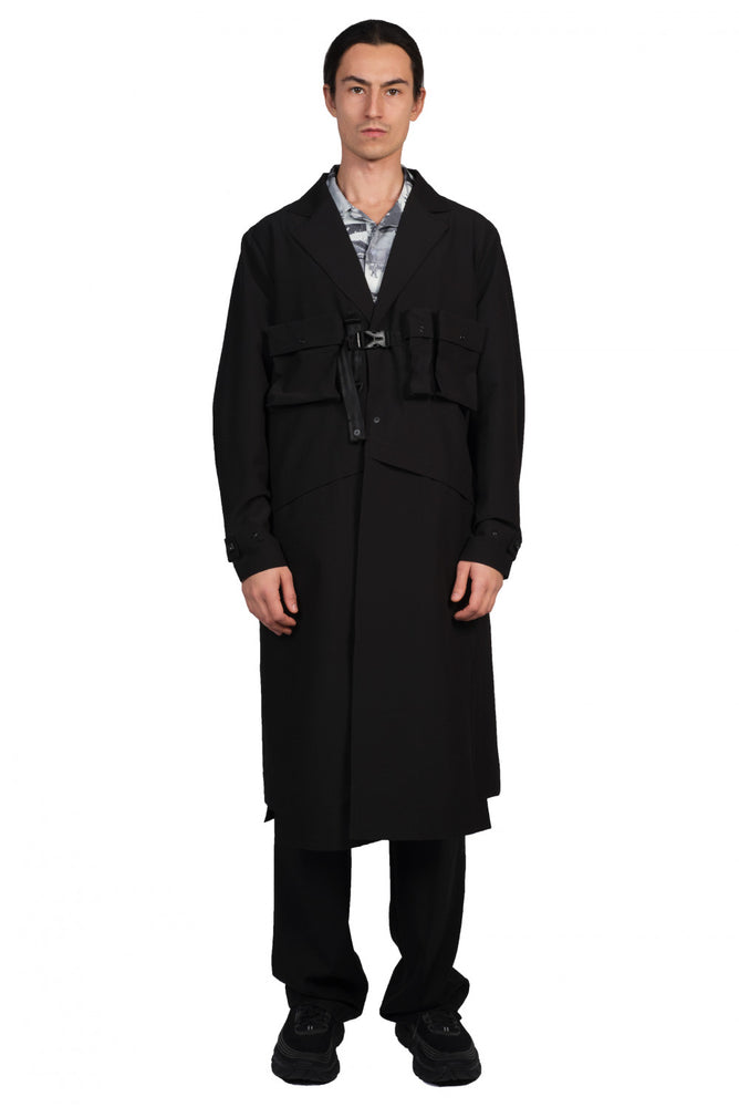IISE Black Utility Trench Coat