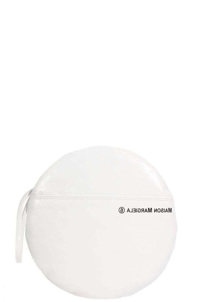 MM6 White Round Clutch Bag