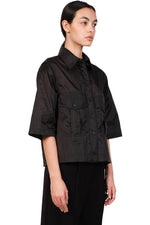Song for the Mute Black Cropped Military Shirt