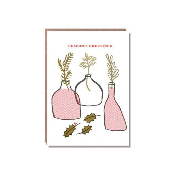 season's greetings bud vase card