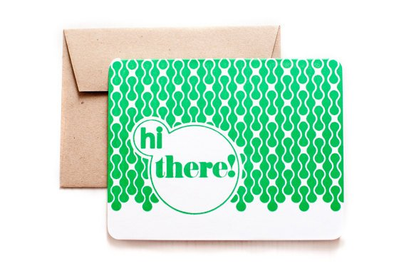 'hi there' letterpress card