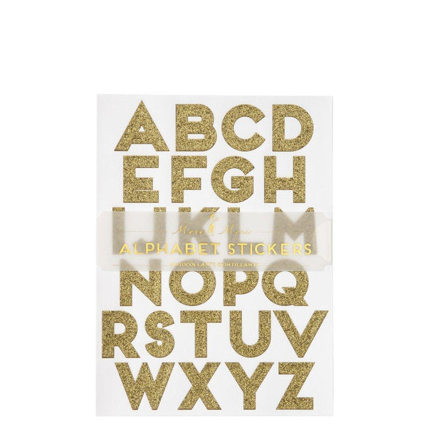 gold glitter alphabet stickers