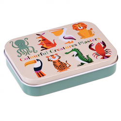 colourful creatures plasters in a tin